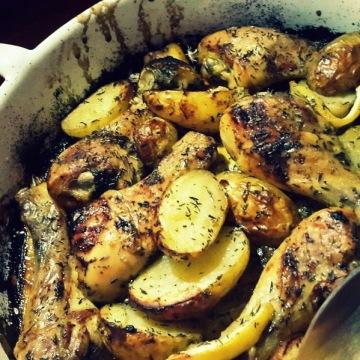 Pollo al horno con limón y tomillo-portada