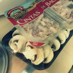 Bacon y champiñones