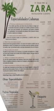 Menú - Zara